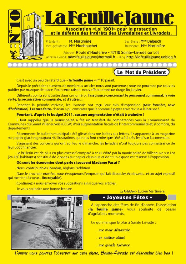 LA FEUILLE JAUNE N° 10 -+ DECEMBRE 2011 1